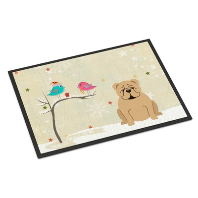 Christmas Presents Between Friends English Bulldog Doormat Mat Size: Rectangle 2' x 3', Color: Fawn