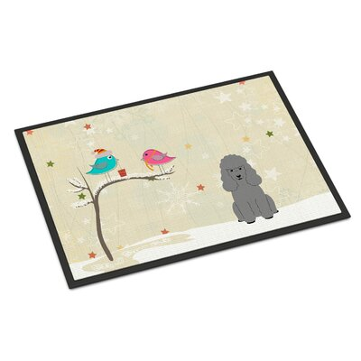 Christmas Presents Between Friends Poodle Doormat Mat Size: Rectangle 2 x 3, Color: Silver