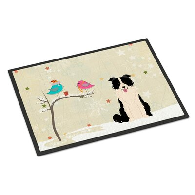 Christmas Presents Between Friends Border Collie Doormat Rug Size: Rectangle 2 x 3, Color: Black/White