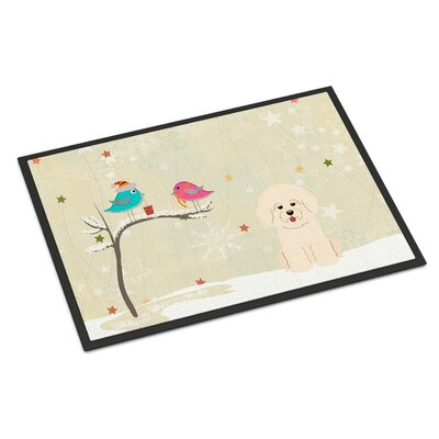 Christmas Presents Between Friends Bichon Frise Doormat Mat Size: Rectangle 16 x 23
