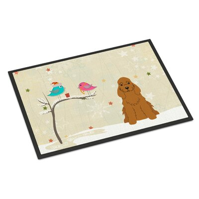 Christmas Presents Between Friends Cocker Spaniel Doormat Mat Size: Rectangle 16 x 23, Color: Red