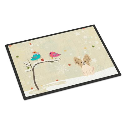 Christmas Presents Between Friends Papillon Doormat Rug Size: Rectangle 2 x 3, Color: Sable/White