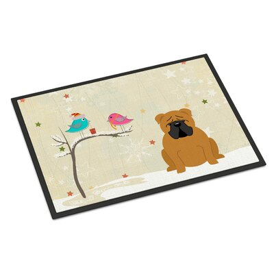 Christmas Presents Between Friends English Bulldog Doormat Mat Size: Rectangle 16 x 23