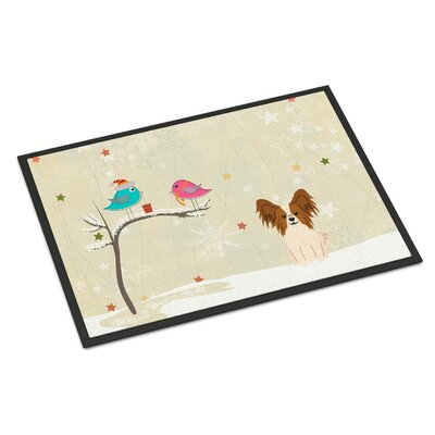 Christmas Presents Between Friends Papillon Doormat Mat Size: Rectangle 16 x 23, Color: Red/White