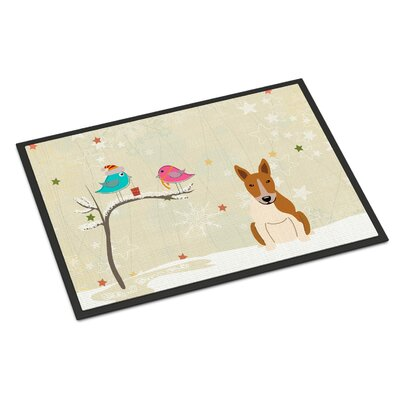 Christmas Presents Between Friends Bull Terrier Doormat Mat Size: Rectangle 16 x 23