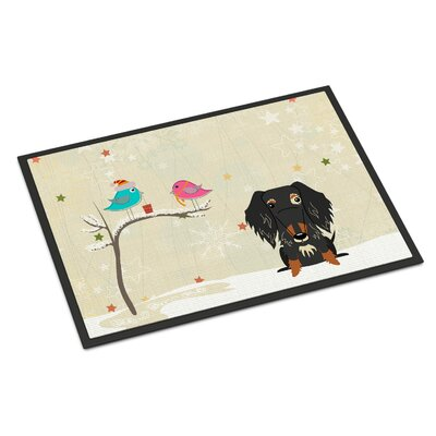 Christmas Presents Between Friends Wire Haired Dachshund Dapple Doormat Mat Size: Rectangle 16 x 24