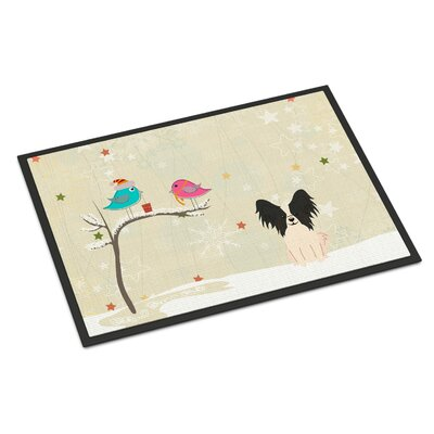 Christmas Presents Between Friends Papillon Doormat Mat Size: Rectangle 16 x 23, Color: Black/White