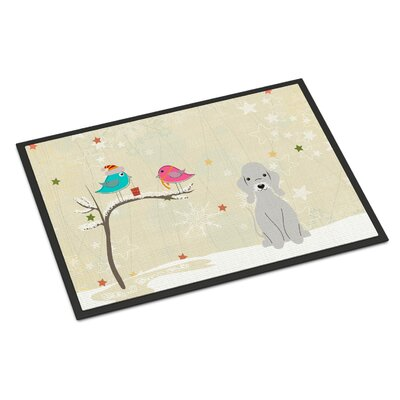 Christmas Presents Between Friends Bedlington Terrier Doormat Mat Size: Rectangle 2 x 3, Color: Blue