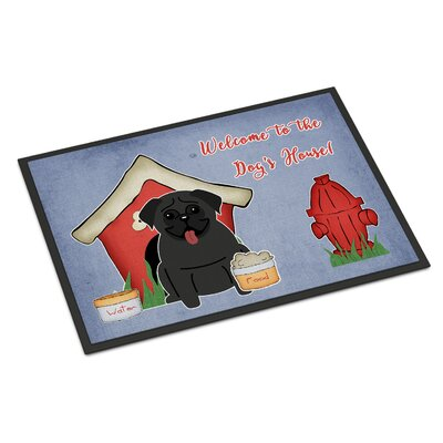 Dog House Pug Doormat Mat Size: Rectangle 2' x 3', Color: Black