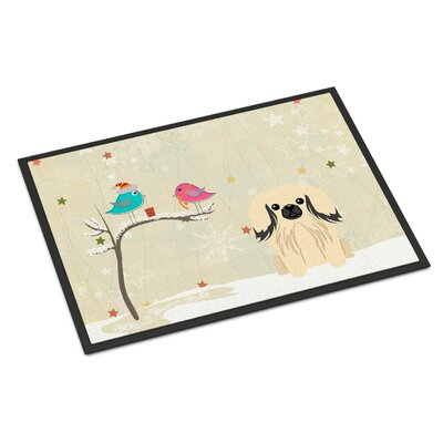 Christmas Presents Between Friends Pekingnese Doormat Mat Size: Rectangle 16 x 23