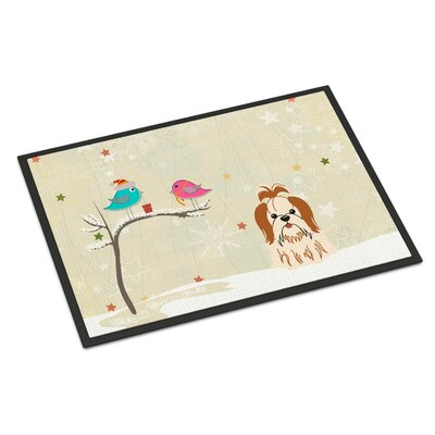 Christmas Presents Between Friends Shih Tzu Doormat Mat Size: Rectangle 2 x 3, Color: Red/White