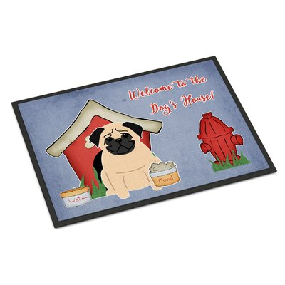 Dog House Pug Doormat Color: Fawn, Rug Size: 16 x 23