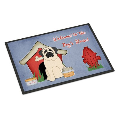 Dog House Mastiff Doormat Rug Size: Rectangle 2 x 3, Color: White