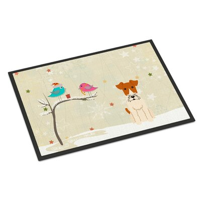 Christmas Presents Between Friends Wire Fox Terrier Doormat Mat Size: Rectangle 16 x 23