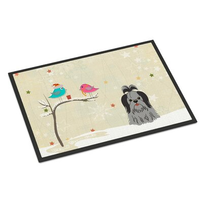 Christmas Presents Between Friends Shih Tzu Doormat Rug Size: Rectangle 2 x 3, Color: Black/Silver
