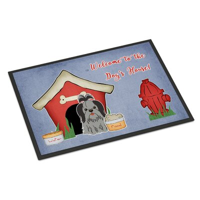 Dog House Shih Tzu Doormat Rug Size: 16 x 23, Color: Black/Silver