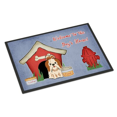 Dog House Shih Tzu Doormat Color: Red/White, Rug Size: 2 x 3