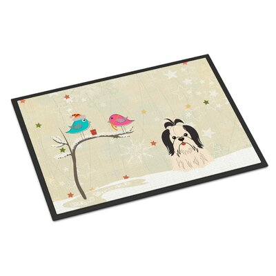 Christmas Presents Between Friends Shih Tzu Doormat Mat Size: Rectangle 16 x 23, Color: Black/White