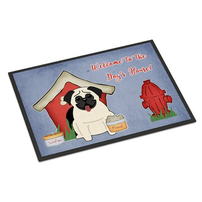 Dog House Pug Doormat Rug Size: 2 x 3, Color: Cream