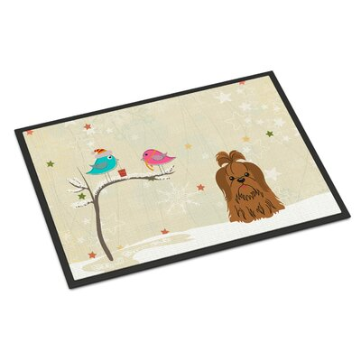 Christmas Presents Between Friends Shih Tzu Doormat Rug Size: 2 x 3, Color: Chocolate