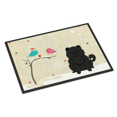 Christmas Presents Between Friends Chow Chow Doormat Mat Size: Rectangle 2 x 3, Color: Black