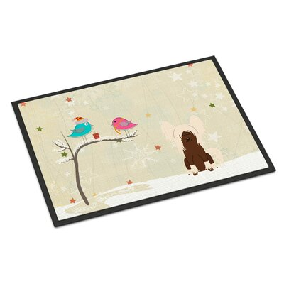 Christmas Presents Between Friends Chinese Crested Doormat Color: Cream, Rug Size: 16 x 23