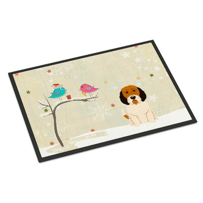 Christmas Presents Between Friends Petit Basset Griffon Veenden Doormat Mat Size: Rectangle 16 x 23