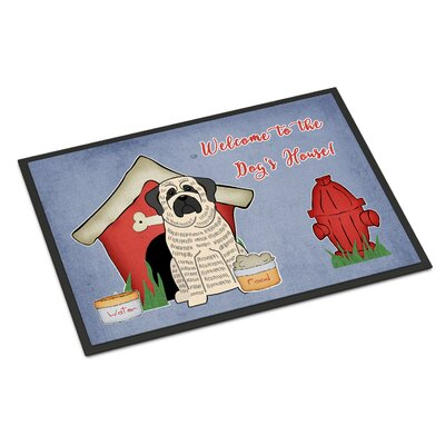 Dog House Mastiff Doormat Rug Size: Rectangle 16 x 23, Color: Brindle/White
