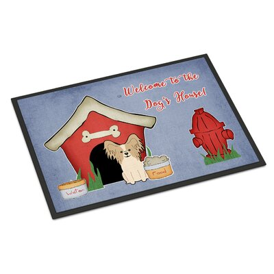 Dog House Papillon Doormat Rug Size: Rectangle 16 x 23, Color: Sable/White