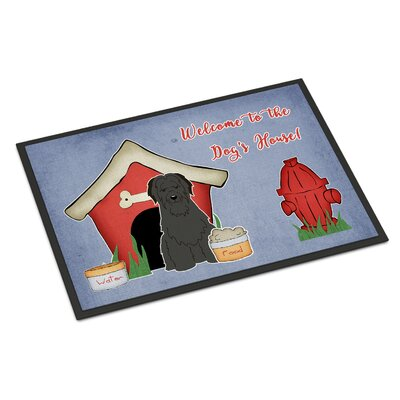 Dog House Briard Doormat Mat Size: Rectangle 16 x 23, Color: Black