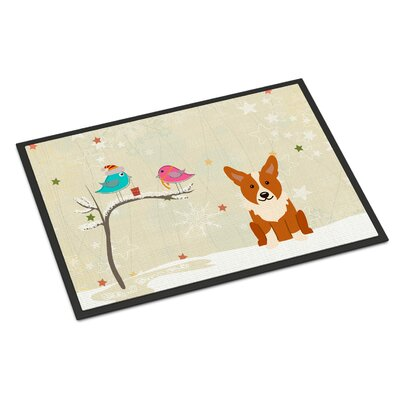 Christmas Presents Between Friends Corgi Doormat Mat Size: Rectangle 16 x 23