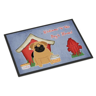 Dog House Pug Doormat Rug Size: 2 x 3, Color: Brown