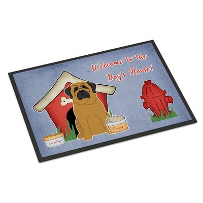 Dog House Mastiff Doormat Rug Size: 2 x 3, Color: Brown