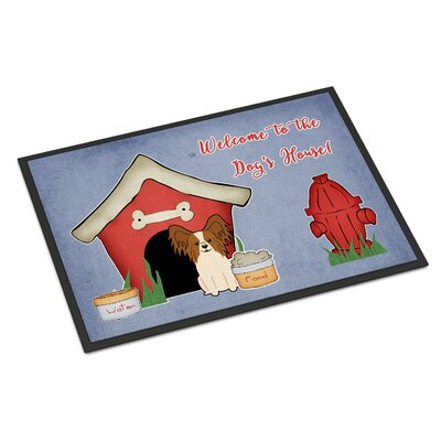 Dog House Papillon Doormat Rug Size: Rectangle 16 x 23, Color: Red/White
