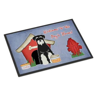 Dog House Standard Schnauzer Doormat Rug Size: Rectangle 16 x 23, Color: Salt/Papper