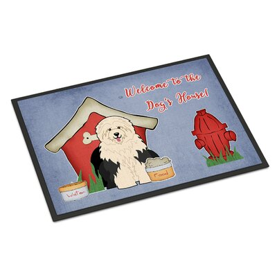 Dog House Old English Sheepdog Doormat Rug Size: Rectangle 16 x 23
