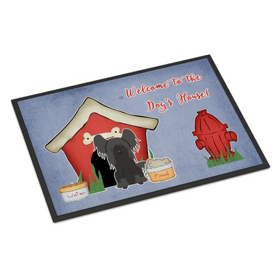 Dog House Chinese Crested Doormat Mat Size: Rectangle 16 x 23, Color: Black