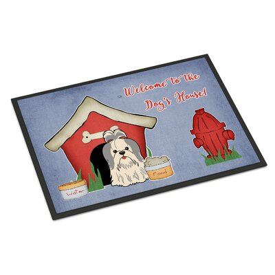 Dog House Shih Tzu Doormat Rug Size: Rectangle 2 x 3, Color: Silver/White
