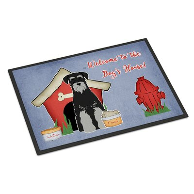 Dog House Standard Schnauzer Doormat Rug Size: Rectangle 2 x 3, Color: Black/Gray