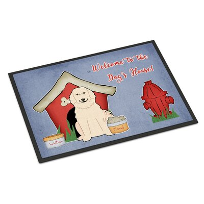 Dog House Great Pyrenese Doormat Rug Size: Rectangle 16 x 23