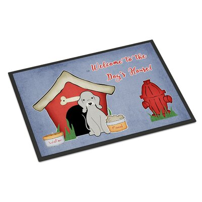 Dog House Bedlington Terrier Doormat Rug Size: Rectangle 2 x 3, Color: Blue