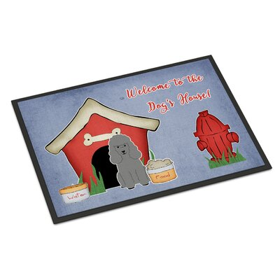 Dog House Poodle Doormat Rug Size: Rectangle 2 x 3, Color: Silver