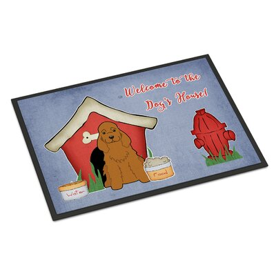 Dog House Cocker Spaniel Doormat Rug Size: Rectangle 16 x 23, Color: Red