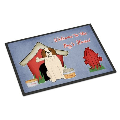 Dog House Saint Bernard Doormat Rug Size: Rectangle 16 x 23