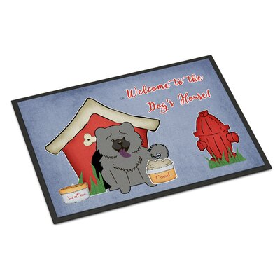 Dog House Chow Chow Doormat Rug Size: Rectangle 16 x 23, Color: Blue