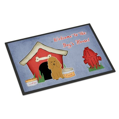 Dog House Poodle Doormat Rug Size: 16 x 23, Color: Tan