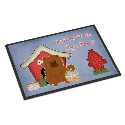 Dog House Chow Chow Doormat Rug Size: Rectangle 16 x 23, Color: Red