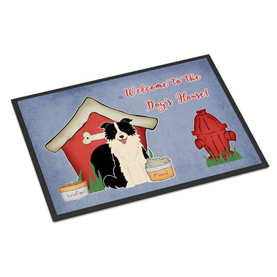 Dog House Border Collie Doormat Rug Size: Rectangle 2 x 3, Color: Black/White