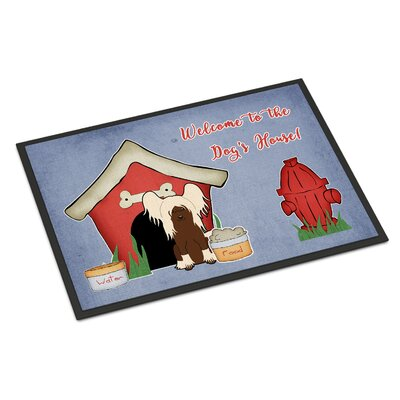 Dog House Chinese Crested Doormat Rug Size: Rectangle 16 x 23, Color: Cream