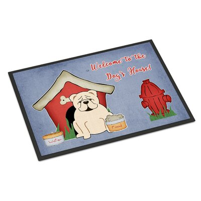 Dog House English Bulldog Doormat Color: White, Rug Size: 2 x 3